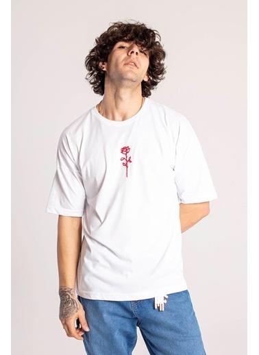 XHAN Siyah Gül İşlemeli Oversize T-Shirt  Beyaz